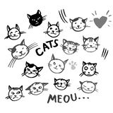 Vector icons of cat smiling faces Stock Photo