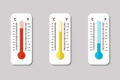 Vector icons of Celsius and Fahrenheit meteorology thermometers measuring heat, normal and cold in flat style. Design. Template, EPS10 illustration Royalty Free Stock Photography