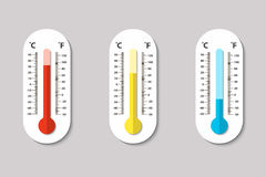 Vector icons of Celsius and Fahrenheit meteorology thermometers measuring heat, normal and cold in flat style. Design Royalty Free Stock Photos