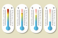 Vector icons of Celsius and Fahrenheit meteorology thermometers measuring heat, normal and cold in flat style. Design. Template, EPS10 illustration Stock Photography