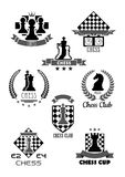 Vector icons for chess club and game contest. Chess club vector icon for chessplayer team or tournament contest. Vector symbols chessman pieces king and queen Royalty Free Stock Photography