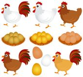 Vector Icons : Chicken, Hen, Rooster Royalty Free Stock Photography