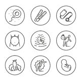Vector icons in circle set pregnancy, medical consultation. Outline symbol collection. Black line icons in the circle set of stages pregnancy tips for pregnant Stock Photos