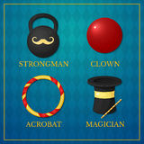 Vector icons circus artists Royalty Free Stock Image