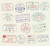 Vector icons of city passport stamps world travel. Passport stamps set of city names Los Angeles, New York, Helsinki, Stockholm, Vienna, Jakarta, Kuala Lumpur Royalty Free Stock Photo
