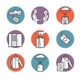 Vector icons of clothing buy, sell, delivery Stock Images