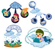 Vector Icons for Cloud network Royalty Free Stock Images