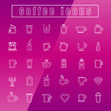 Vector icons coffee cup Thin Line white Royalty Free Stock Images