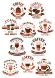 Vector icons coffee set for cafeteria or cafe Stock Image