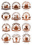 Vector icons coffeeshop of coffee cups or beans Royalty Free Stock Image