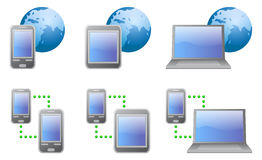 Vector icons (Communications). Icon set; Phone; Tablet;  Laptop; isolated vector illustration Stock Photo