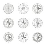 Vector icons with compass rose Royalty Free Stock Images