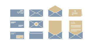 Vector icons for computer envelopes with letters Royalty Free Stock Photography
