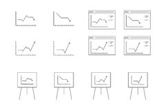 Vector icons for computer presentation of dynamic graph growth Stock Photography
