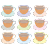 Vector icons of cups of tea in a simplified style. A set of multi-colored glass cups of tea on a white background Stock Photos