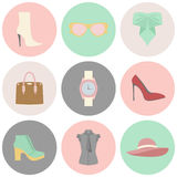 Vector icons design concept of fashion accessories Stock Image