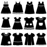 Vector icons of different children's dresses for baby girls. Icon set children's summer dresses. Collection cute clothes for girls on white background. Vector Royalty Free Stock Image