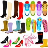 Vector Icons: Different kinds of shoes Royalty Free Stock Image