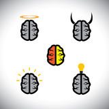 Vector icons of different types of brains like genius, creative. This graphic also represents people's mind with various mental calibers like ingenious vector illustration