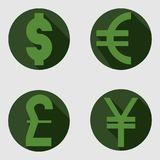 Vector icons of dollar, euro, pound and yen. Vector round icons of dollar, euro, pound and yen Stock Photography