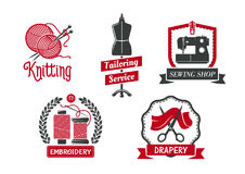 Vector icons for dressmaker knitting atelier salon. Tailoring service icons set for atelier tailor or dressmaker knitting and drapery salon. Vector isolated Royalty Free Stock Image