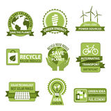 Vector icons for Earth Day and Save Planet Nature. Earth Day vector icons for Save Planet design. Symbols of green environment, alternative energy sources of Royalty Free Stock Images