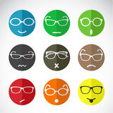 Vector icons of faces with eyeglasses. Stock Photo