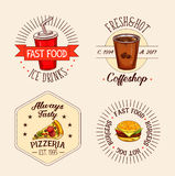 Vector icons of fast food drinks and snacks Stock Photo