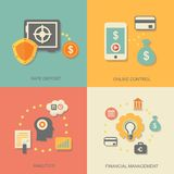 Vector icons of financial analytics, online. Banking and payment control concepts Stock Photos