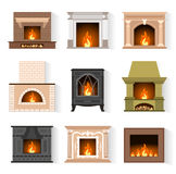 Vector icons fireplaces. Set of web icons fireplaces in the flat style isolated on white background. Vector illustration. Various fireplaces for your design Stock Photo