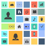 Vector icons flat design. Web icons for websites and presentations Stock Image