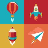 Vector icons in flat style - start up and launch vector illustration