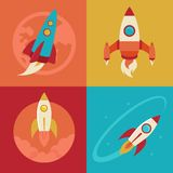 Vector icons in flat style - start up and launch Royalty Free Stock Photography