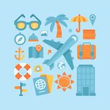Vector icons in flat style - travel and vacation Royalty Free Stock Photography