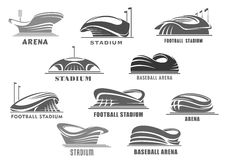 Vector icons of football arena or sport stadium Royalty Free Stock Photo
