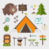 Vector icons forest camping set. With a pine or fir tree  bear  map  tent with open flaps  rucksack or backpack  campfire  compass  water bottle  magnifying Royalty Free Stock Photos