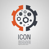 Vector icons in the form of nuts and bolts  gear wheel. Vector icons in the form of nuts and bolts and gear wheel. Pin symbol for your web site design, logo Stock Image