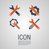 Vector icons in the form of wrench with gear wheel. Vector icons in the form of wrench with a gear wheel. Pin symbol for your web site design, logo, app, UI Royalty Free Stock Photos