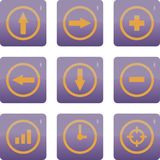 Vector icons. Nine icons with arrows Stock Photo