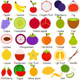 Vector Icons of Fruit with Alphabet A to Z. Back to school : A Set of Vector Icons of Fruit Representing Alphabet A to Z - Dictionary for Kids Royalty Free Stock Photography