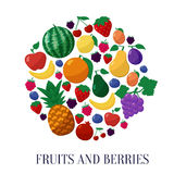 Vector Icons Fruits and Berries in Flat Style Set Stock Photos