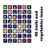 Vector icons of fruits and vegetables. 48 vector icons of fruits and vegetables Stock Image