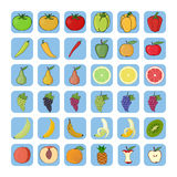Vector icons of fruits and vegetables. Stock Photography