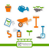 10 stickers about gardening. Stock Photography