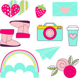 Vector icons of glamor stickers and labeles. Vector  icons of glamor stickers and labeles Stock Photos