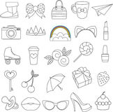 Vector  icons of glamor stickers and labeles. Set Royalty Free Stock Images