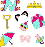 Vector icons of glamor stickers and labels. Vector isolated icons of glamor stickers and labels Royalty Free Stock Photos