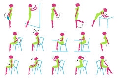 Vector Icons of Glamour lady in office. Vector Icons of Glamour lady doing exercise in office. Vector Icons vector illustration