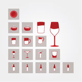 Vector icons. Glasses and bottles. Bar, and restaurant pictograms - drinks. Stylized drink icons Royalty Free Stock Photos