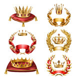 Vector icons golden crowns and laurel wreaths. Set of vector icons of royal golden crowns and laurel wreaths isolated on white. Collection of crown awards for Stock Photos